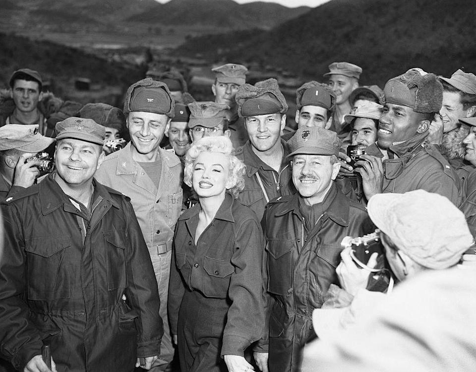 <p>Marilyn visited the troops in Korea during the Korean War. As you would imagine, her presence was celebrated by service members and the press alike. </p>