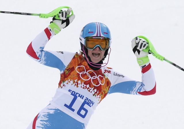 Austria's Nicole Hosp reacts after finishing the slalom portion of the women's supercombined at the Sochi 2014 Winter Olympics, Monday, Feb. 10, 2014, in Krasnaya Polyana, Russia. (AP Photo/Gero Breloer)