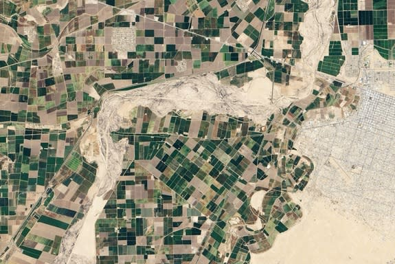 An April 2013 image of the Colorado River in northern Mexico shows only dry riverbed.