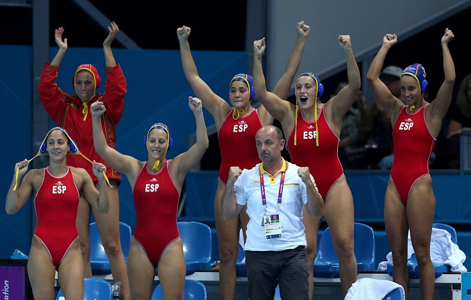 LONDON, ENGLAND - AUGUST 07: Spanish players celebrate winning the Women's Water Polo semifinal match between Spain and Hungary at the Water Polo Arena on August 7, 2012 in London, England. (Photo by Clive Rose/Getty Images)