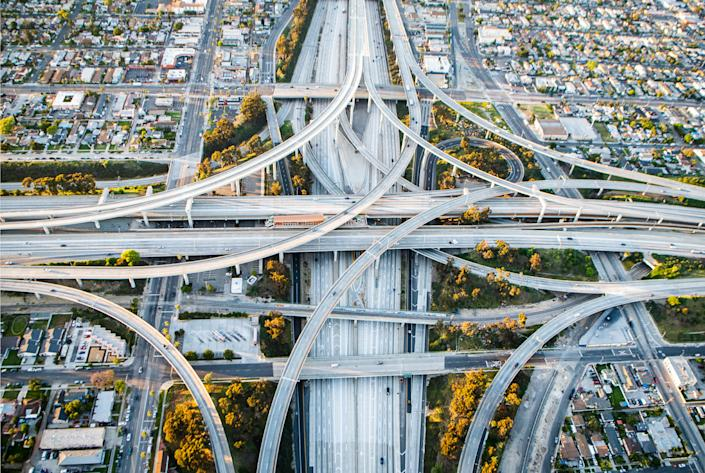 One of Los Angeles' most crowded highway interchanges was nearly empty during rush hour on April 24.   Stuart Palley