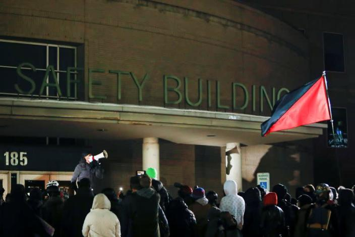 Protestors gather outside the Public Safety Building after the New York grand jury voted not to indict officers in Prude's death