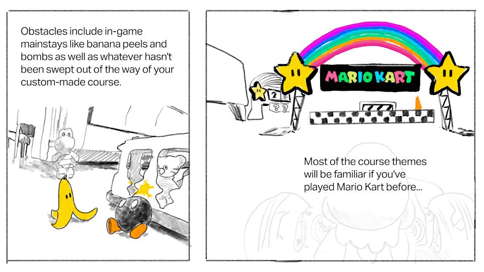 Text: Obstacles include in-game mainstays like banana peels and bombs as well as whatever hasn't been swept out of the way of your custom-made course. [Image: In-game image of living room floor including real-life toys and in-game banana peel and bob-omb] Text: Most of the course themes will be familiar if you've played Mario Kart before... [Image: In-game image of Rainbow Road course]
