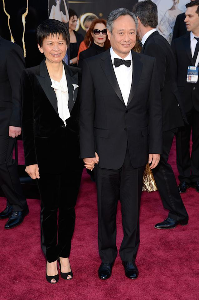 Ang Lee and Jane Lin arrive at the Oscars in Hollywood, California, on February 24, 2013.