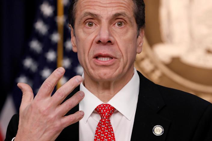 New York Gov. Andrew Cuomo at a news conference on March 2 regarding the first confirmed case of coronavirus in New York state. (Andrew Kelly/Reuters)