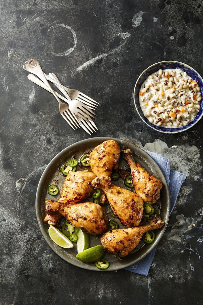 """<p>These tasty drumsticks are like supersized chicken wings for your hungry keto guests. You'll need to swap out the brown sugar listed in this recipe for a faux sugar substitute (or simply omit sugar altogether).</p><p><a href=""""https://www.goodhousekeeping.com/food-recipes/a42225/spicy-jerk-drumsticks-recipe/"""" rel=""""nofollow noopener"""" target=""""_blank"""" data-ylk=""""slk:Get the recipe for Spicy Jerk Drumsticks »"""" class=""""link rapid-noclick-resp""""><em><em><em>Get the recipe for Spicy Jerk Drumsticks <em><em>»</em></em></em></em></em></a></p>"""