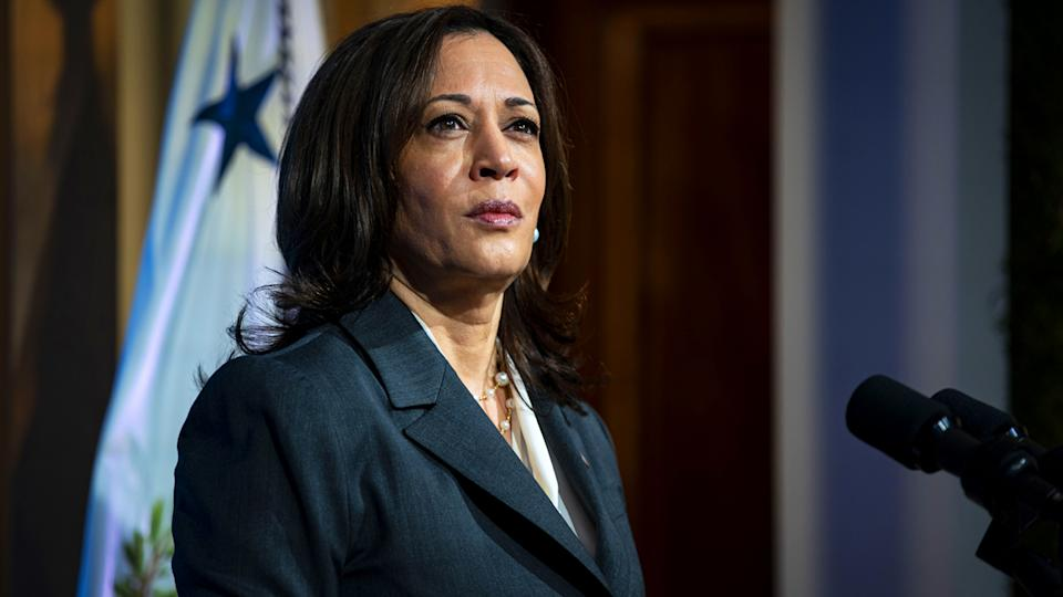 U.S. Vice President Kamala Harris listens during the virtual Leaders Summit on Climate in the East Room of the White House in Washington, D.C., U.S., on Thursday, April 22, 2021. (Al Drago/The New York Times/Bloomberg via Getty Images)