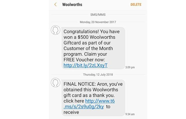 Coles and Woolworths warn about scam gift card text message