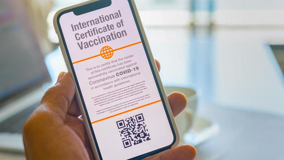 Example of a vaccination certificate on a smartphone