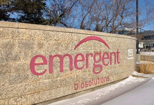 A sign outside the Emergent BioSolutions site in Winnipeg is pictured on Feb. 11, 2021.