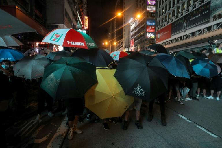 Protesters used umbrellas to defend themselves from police (AFP Photo/VIVEK PRAKASH)