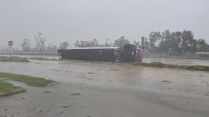 A lorry flipped on its side due to Hurricane Delta in Lake Charles, Louisiana