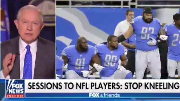 Jeff Sessions Defends Free Speech And Donald Trump's NFL Attacks In The Same Breath