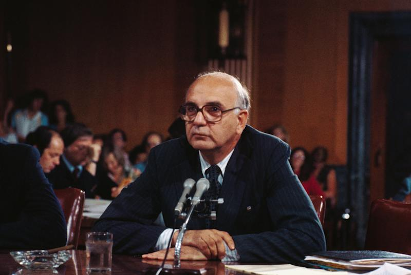 Paul A. Volcker in 1979, nominated to be Chairman of Federal Reserve System. (Photo: Bettmann via Getty Images)