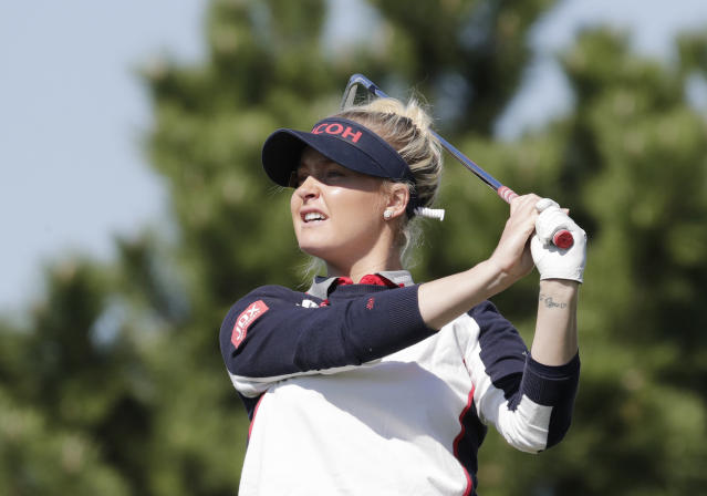 Charley Hull of England watches her shot on the third hole during the second round of the LPGA KEB Hana Bank Championship at Sky72 Golf Club in Incheon, South Korea, Friday, Oct. 12, 2018. (AP Photo/Lee Jin-man)