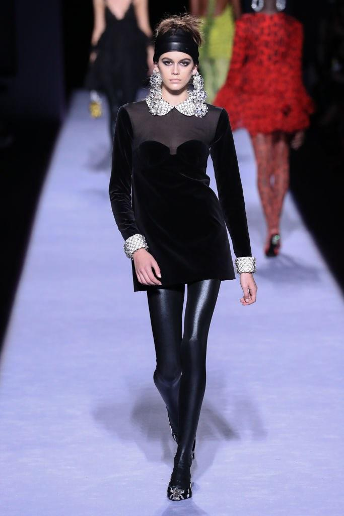 Kaia Gerber walks the runway at the Tom Ford Womenswear FW18 Collection at Park Avenue Armory on February 8, 2018 in New York City. Photo courtesy Getty Images.