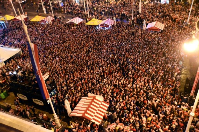 Croatia's supporters glued to a giant screen as their team books a first ever ticket to a World Cup final