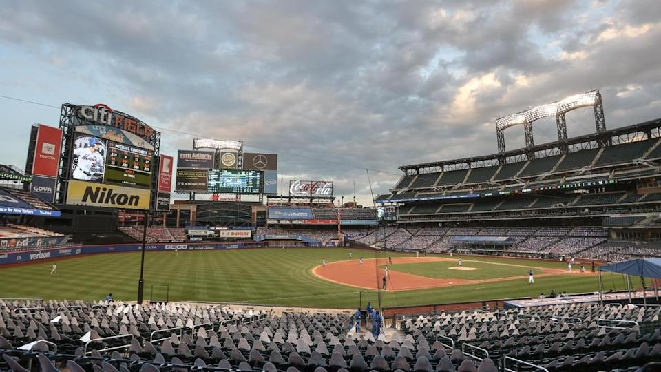 General view inside Citi Field in 2020 with cardboard cutouts visible