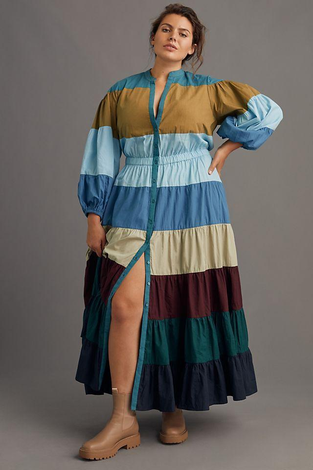"""<h2>Forever That Girl Tiered Colorblocked Maxi Dress </h2><br>This tiered dress silhouette is conservative enough that even with the many color-blocked colors, it works in a business casual setting. Pair it with some clogs, booties, or chunky loafers and you've got an outfit.<br><br><em>Shop <strong><a href=""""https://www.anthropologie.com/shop/tiered-colorblocked-maxi-dress?category=plus-size-dresses&color=049&type=PLUS&viewcode=c&quantity=1"""" rel=""""nofollow noopener"""" target=""""_blank"""" data-ylk=""""slk:Anthropologie"""" class=""""link rapid-noclick-resp"""">Anthropologie </a></strong></em><br><br><strong>Forever That Girl</strong> Tiered Colorblocked Maxi Dress, $, available at <a href=""""https://go.skimresources.com/?id=30283X879131&url=https%3A%2F%2Fwww.anthropologie.com%2Fshop%2Ftiered-colorblocked-maxi-dress%3Fcategory%3Dplus-size-dresses%26color%3D049%26type%3DPLUS%26viewcode%3Dc%26quantity%3D1"""" rel=""""nofollow noopener"""" target=""""_blank"""" data-ylk=""""slk:Anthropologie"""" class=""""link rapid-noclick-resp"""">Anthropologie</a>"""