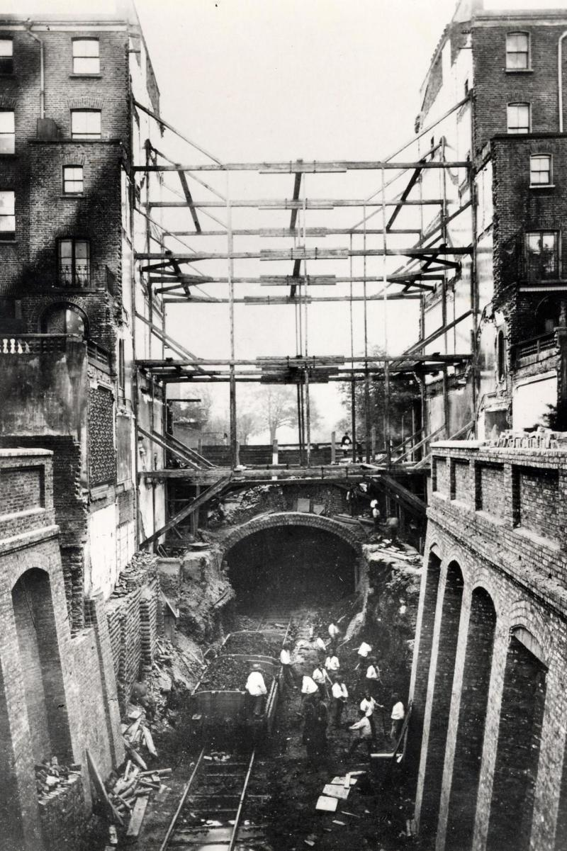Construction work on the Metropolitan Railway at Leinster Gardens, Bayswater, near to Bayswater, Queensway and Lancaster Gate stations. (London Transport Museum)