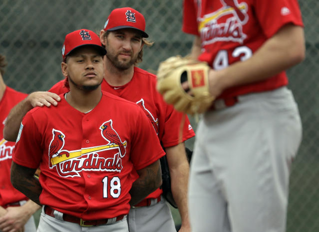 St. Louis Cardinals' Carlos Martinez (18) gets a shoulder rub from teammate Michael Wacha as they watch fellow pitcher Dakota Hudson, right, throw a bullpen session during spring training baseball practice Wednesday, Feb. 13, 2019, in Jupiter, Fla. (AP Photo/Jeff Roberson)
