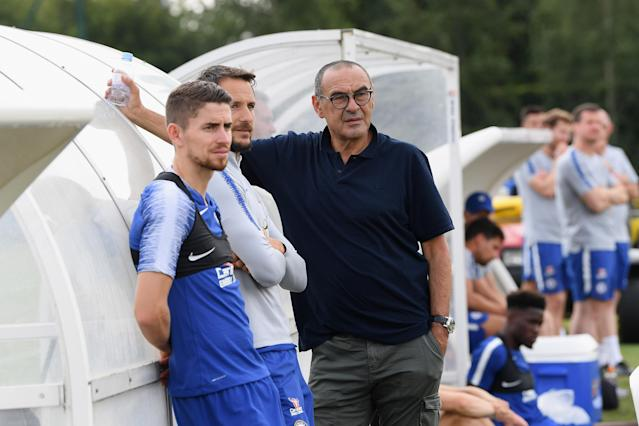 Sarri takes a break during a training session