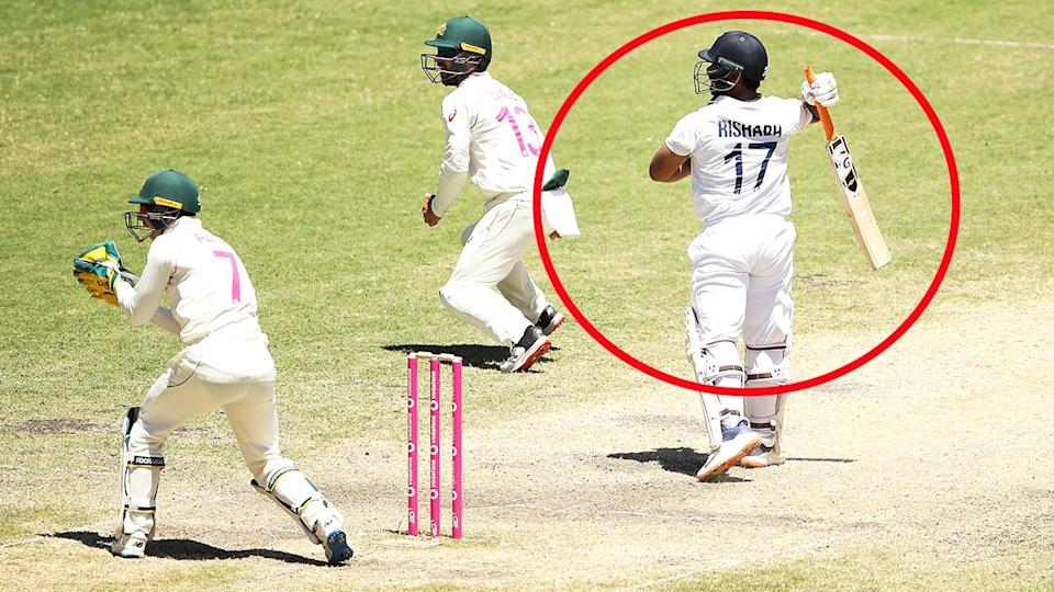 Rishabh Pant, pictured here being dismissed by Nathan Lyon for 97.