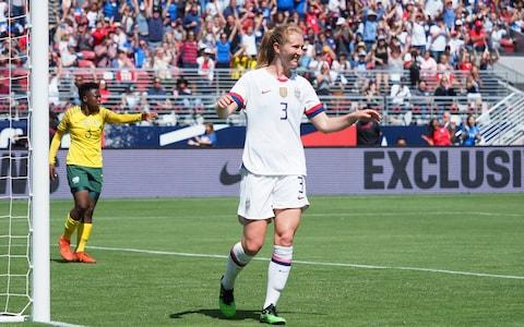 Samantha Mewis celebrates scoring in the win over South Africa - Credit: USA TODAY Sports