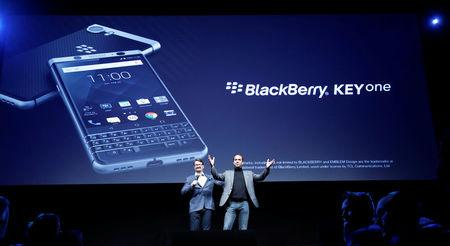 TCL Communication's CEO Nicolas Zibell and Kevin Michaluk present the new BlackBerry Key One before the Mobile World Congress in Barcelona, Spain February 25, 2017. REUTERS/Albert Gea