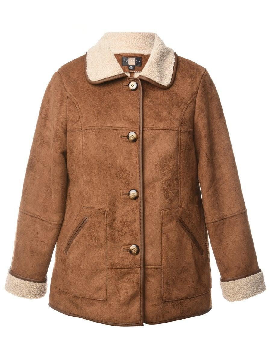 """<br><br><strong>BEYOND RETRO</strong> 1980s Faux Suede Coat, $, available at <a href=""""https://www.beyondretro.com/products/1980s-faux-suede-coat-l"""" rel=""""nofollow noopener"""" target=""""_blank"""" data-ylk=""""slk:Beyond Retro"""" class=""""link rapid-noclick-resp"""">Beyond Retro</a>"""
