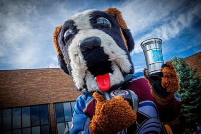 Colorado Avalanche mascot, Bernie, enjoys Ball's infinitely recyclable aluminum cup, which is launching at Kroenke Sports & Entertainment's Pepsi Center.