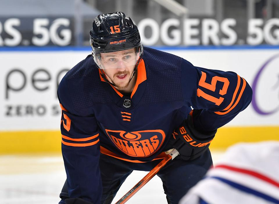 Oilers forward Josh Archibald, who declined the vaccine ahead of this season, is dealing with a serious heart condition linked to a bout with COVID-19. (Getty)