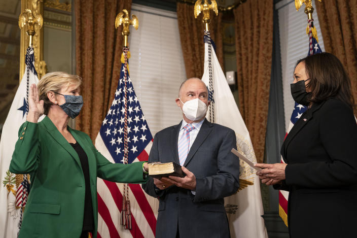 Secretary of Energy Jennifer Granholm participates in a ceremonial swearing-in with Vice President Kamala Harris on February 25, 2021 in Washington, D.C. Holding the Bible at center is Granholm's husband, Dan Mulhern. / Credit: Drew Angerer / Getty Images