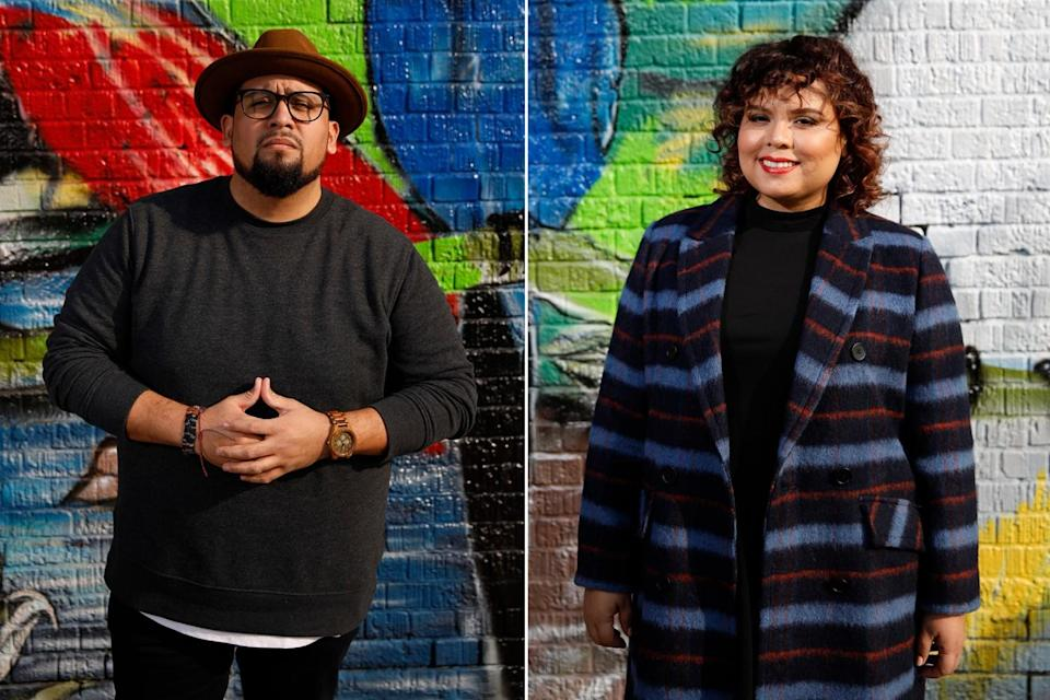 Side-by-side images show Marvin Lemus and Linda Yvette Chávez against a colorful mural