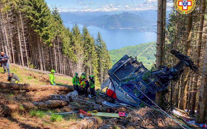 At least nine people have died in a cable car accident near Lake Maggiore, in Verbania, northern Italy - CNSAS HANDOUT/EPA-EFE/Shutterstock