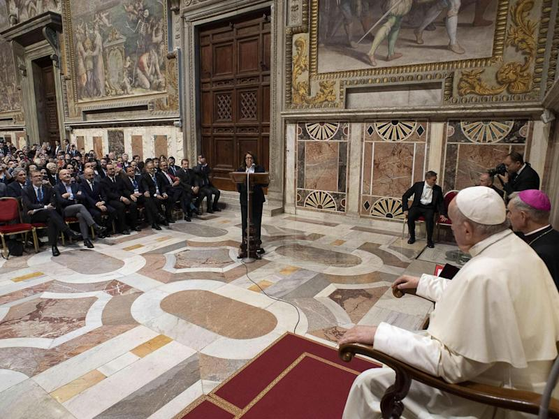 Pope Francis receives audience participants of the World Congress of the International Association of Penal Law on Friday 15 November 2019: EPA/Vatican media handout