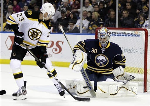 Buffalo Sabres goalie Ryan Miller makes a save on a shot by Boston Bruins' Chris Kelly (23) during the second period of an NHL hockey game in Buffalo, N.Y., Friday, Feb. 24, 2012. (AP Photo/David Duprey)