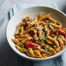 <p>The secret to this delicious pasta salad is a creamy low-fat dressing made with bottled roasted red peppers. If you have cooked chicken on hand, you can substitute it for the tuna.</p>