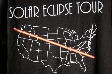 FILE PHOTO - In preparation for the Solar Eclipse, t-shirts commemorating the day are shown in Depoe Bay, Oregon, U.S. on August 9, 2017.   REUTERS/Jane Ross/File Photo