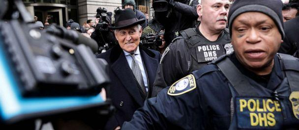 PHOTO: In this Feb. 20, 2020, file photo, Roger Stone, former adviser and confidante to President Donald Trump, leaves the federal court in Washington, D.C. after being sentenced to 3 years in prison. (Yasin Ozturk/Anadolu Agency via Getty Images, FILE)