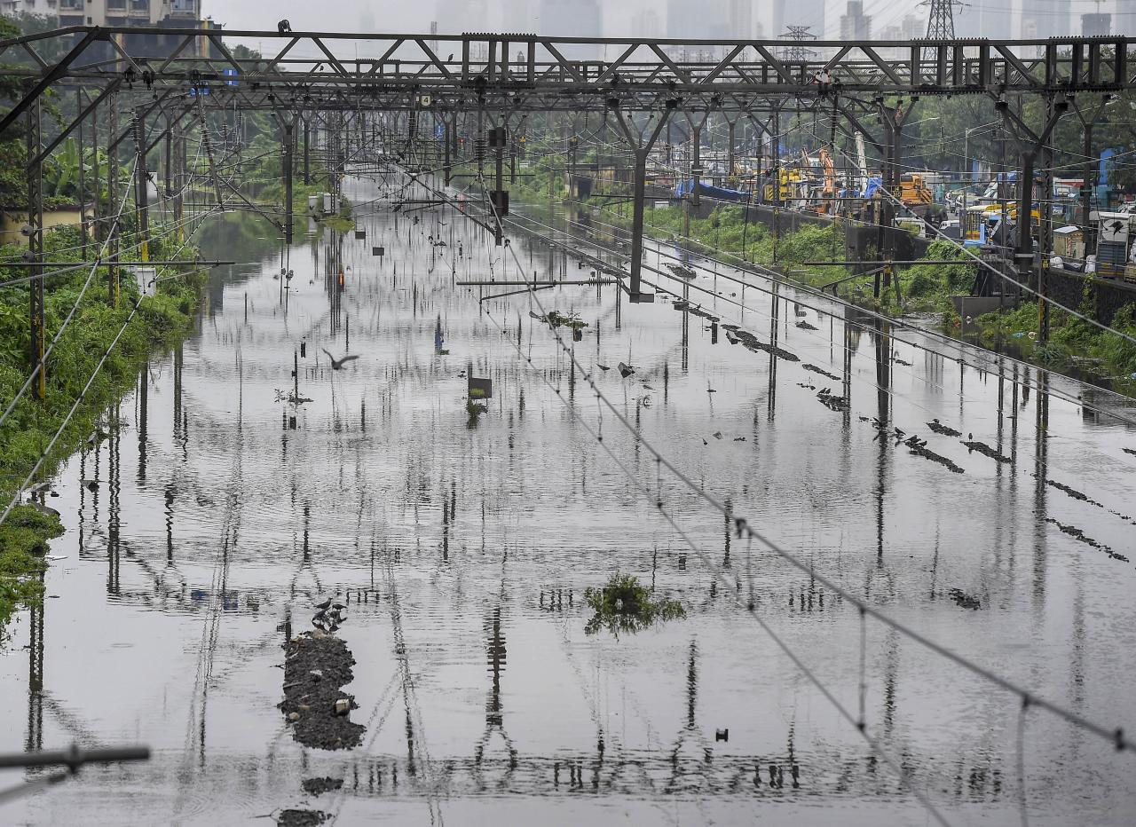 Mumbai: Waterlogged railway tracks between Kurla and Sion railway station, after heavy monsoon rain, in Mumbai, Wednesday, Sept. 23, 2020. (PTI Photo/Kunal Patil)(PTI23-09-2020_000072B)