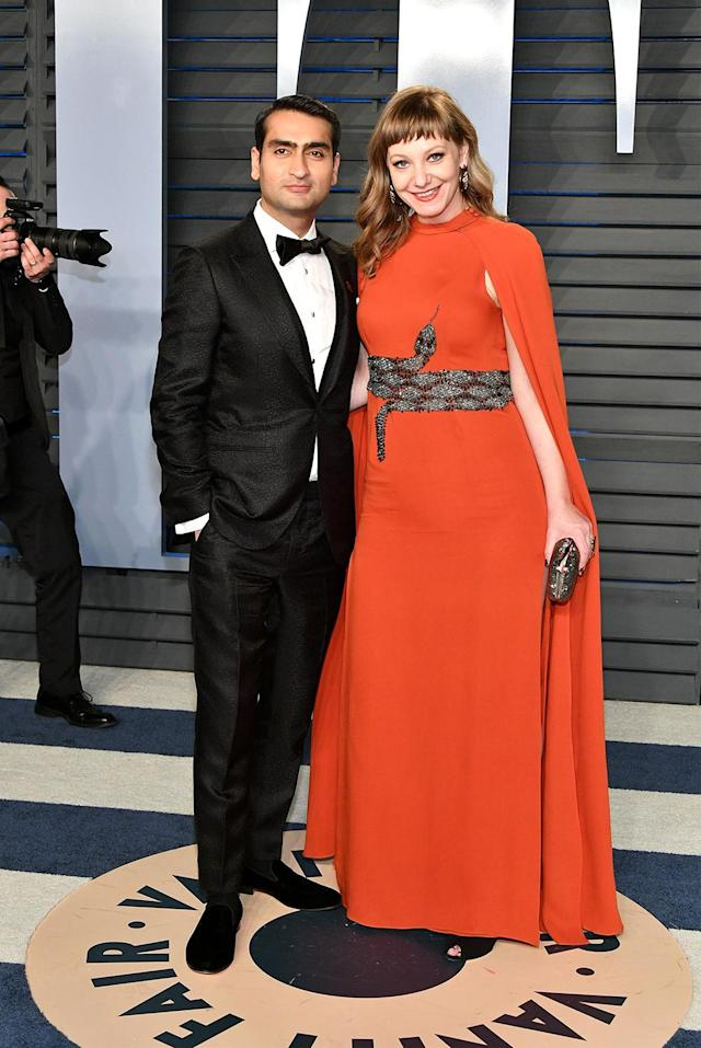 <p>Nominated for their screenplay for <em>The Big Sick</em>, the husband-and-wife duo made a sssssstylish pair on the <em>Vanity Fair</em> red carpet. (Photo: Dia Dipasupil/Getty Images) </p>