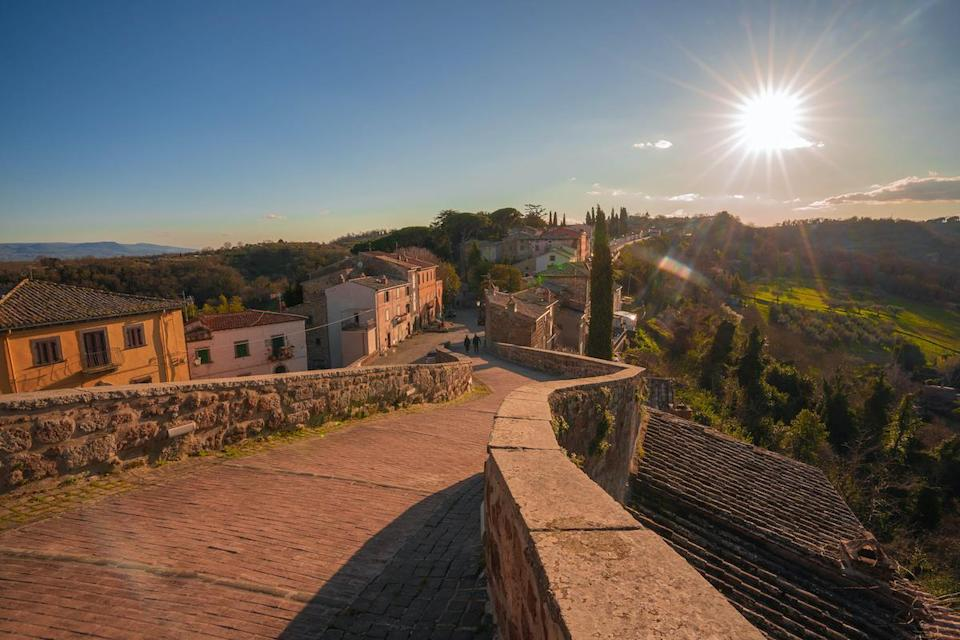 Image of Ghost town of Celleno at sunset in Lazio in Italy