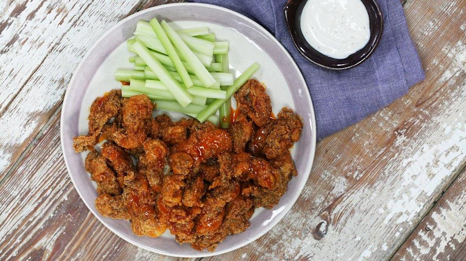 """<p>Selects are rather large shucked oysters—which makes them the perfect size for battering and deep-frying. A unique twist on the tangy buffalo wing, fried oysters are crispy on the outside and meltingly rich and creamy on the inside. These fiery bites are a bit spicy, so it's best to have a side of cool ranch or blue cheese and trimmed celery sticks nearby. Serve at your next tailgate party for the ultimate crunchy starter. </p> <p><a href=""""https://www.myrecipes.com/recipe/fried-buffalo-oysters"""" rel=""""nofollow noopener"""" target=""""_blank"""" data-ylk=""""slk:Fried Buffalo Oysters Recipe"""" class=""""link rapid-noclick-resp"""">Fried Buffalo Oysters Recipe</a></p>"""