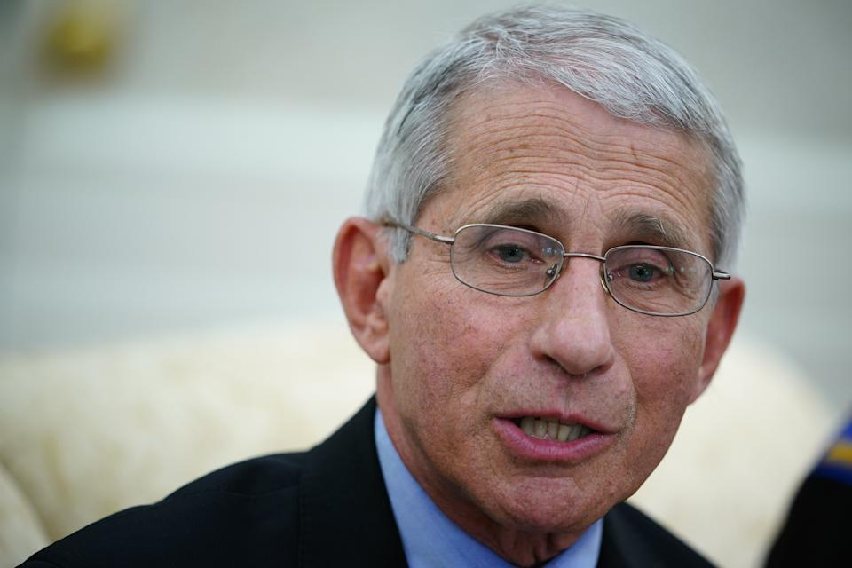 Dr. Anthony Fauci , director of the National Institute of Allergy and Infectious Diseases speaks during a meeting with US President Donald Trump and Louisiana Governor John Bel Edwards D-LA in the Oval Office of the White House in Washington, DC on April 29, 2020. (Photo by MANDEL NGAN / AFP) (Photo by MANDEL NGAN/AFP via Getty Images)