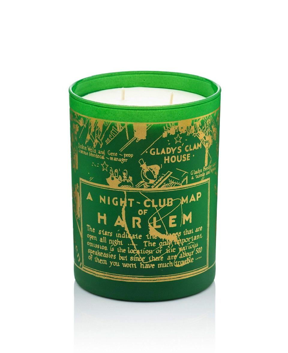"""<p><strong>Harlem Candle Co. </strong></p><p>harlemcandlecompany.com</p><p><strong>$50.00</strong></p><p><a href=""""https://www.harlemcandlecompany.com/products/holiday-nightclub-map-luxury-candle?variant=31173711364207"""" rel=""""nofollow noopener"""" target=""""_blank"""" data-ylk=""""slk:BUY NOW"""" class=""""link rapid-noclick-resp"""">BUY NOW</a></p><p>Donning a green and gold design, this candle is inspired by Billie Holiday's favorite perfume, Emeraude. It features notes of green pine, eucalyptus, hyacinth, cedarwood, and balsam fir.</p>"""