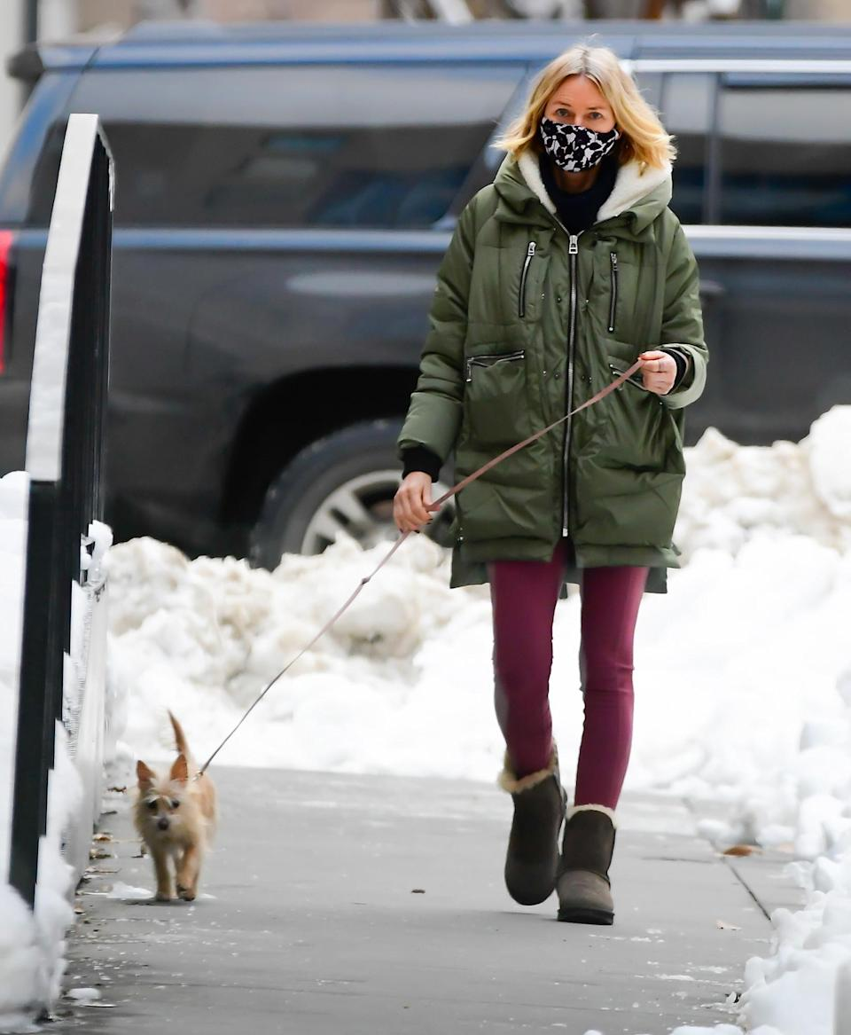 <p>Naomi Watts bundles up in a green parka while out walking her dog in N.Y.C. on Thursday.</p>