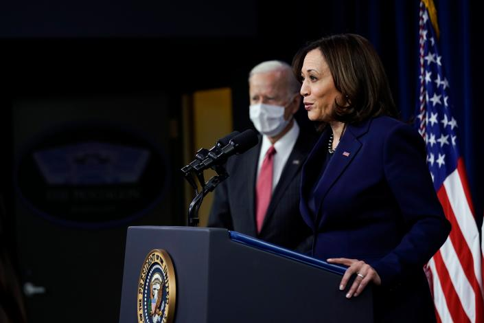 President Joe Biden listens as Vice President Kamala Harris speaks at the Pentagon, February 10, 2021, in Washington, DC. (Photo by ALEX BRANDON/POOL/AFP via Getty Images)