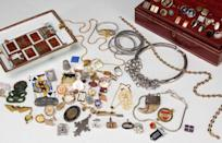 <p>Have you ever walked through a flea market and wondered if one of those pieces of jewelry was worth more than the $1 asking price? Or how about that old jewelry box in your house? At first glance, you may think it's just sentimental in value. At first glance, take notice of anything that contains gold. That can easily be priced and sold at a gold dealer. Next, take note of any unique design on the jewelry. If it's older, it could be made from gemstones and other valuable materials. Consider reaching out to an appraiser to take a look at your collection. </p><p><strong>What it's worth: </strong>$5-$500</p>