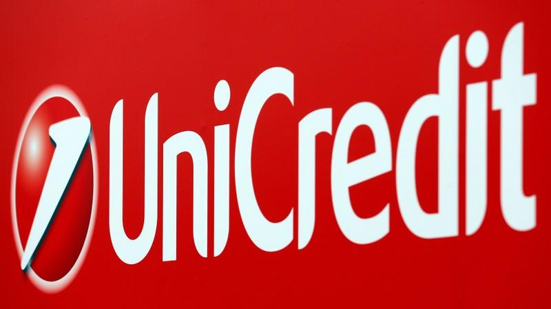 FILE PHOTO: Unicredit bank logo is seen on a banner downtown Milan